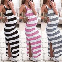 Fashion Sleeveless Round Neck Slit Hem Striped Maternity Dress