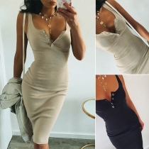 Simple Style Sleeveless U-neck Solid Color Slim Fit Dress