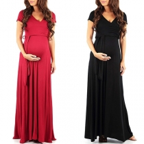 Sexy V-neck Short Sleeve High Waist Solid Color Maternity Dress