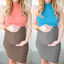 Fashion Contrast Color Sleeveless Mock Neck Maternity Dress