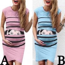 Cute Cartoon Printed Sleeveless Round Neck Maternity Dress