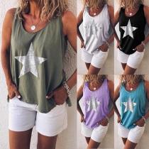 Fashion Star Printed Sleeveless Round Neck T-shirt