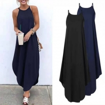 Fashion Solid Color Round Neck Irregular Hem Sling Dress