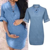 Fashion Short Sleeve V-neck Denim Dress for Pregnant Women