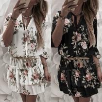 Sweet Style Long Sleeve V-neck Ruffle Hem Printed Dress