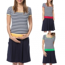 Fashion Contrast Color Striped Spliced Short Sleeve Maternity Dress