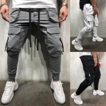 Fashion Solid Color Big-pocket Men's Casual Pants