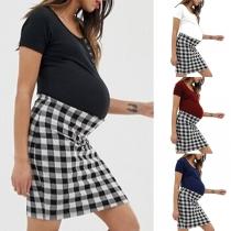 Fashion Short Sleeve Round Neck Plaid Spliced Maternity Dress