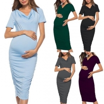 Fashion Solid Color Short Sleeve Cowl Neck Maternity Dress