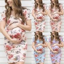 Fashion Short Sleeve Round Neck Printed Maternity Dress