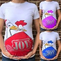 Cute Cartoon Printed Short Sleeve Round Neck Maternity T-shirt