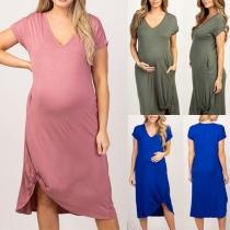 Fashion Short Sleeve V-neck Irregular Hem Maternity Dress