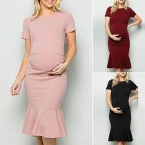 Fashion Solid Color Short Sleeve Ruffle Hem Maternity Dress
