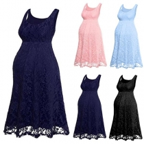 Fashion Sleeveless Round Neck Lace Maternity Dress