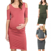 Sexy Off-shoulder Short Sleeve Round Neck Maternity Dress