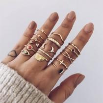 Retro Style Gold-tone Alloy Ring Set 16 pcs/Set