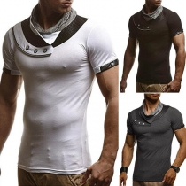 Fashion Short Sleeve Mock Neck Men's T-shirt