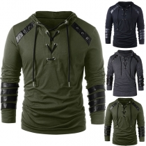 Fashion PU Leather Spliced Long Sleeve Men's Hoodie
