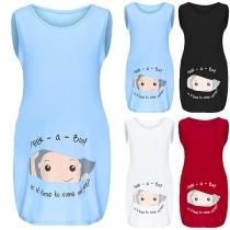Cute Cartoon Printed Sleeveless Round Neck Maternity Top
