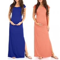Elegant Solid Color Short Sleeve Slit Hem Maternity Dress