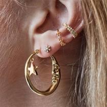 Fashion Rhinestone Inlaid Crescent Shaped Stud Earring Set 4 pcs/Set