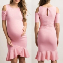 Sexy Off-shoulder Ruffle Hem Solid Color Maternity Dress