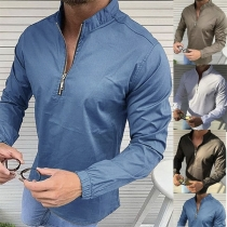 Fashion Stand Collar Solid Color Long Sleeve Man's Shirt