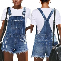 Fashion High Waist Frayed Hem Denim Overalls Shorts