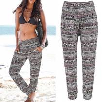 Casual StyleElastic Waist Printed Beach Pants