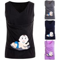 Cute Cartoon Printed V-neck Maternity Tank Top