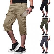 Fashion Solid Color Side-pocket Men's Cropped Pants