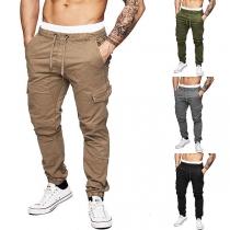 Fashion Solid Color Side-pocket Drawstring Waist Men's Pants