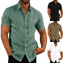 Fashion Solid Color Short Sleeve POLO Collar Man's Shirt