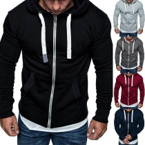 Fashion Solid Color Long Sleeve Man's Thin Hoodie