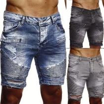 Fashion Wrinkled Ripped Man's Knee-length Denim Shorts