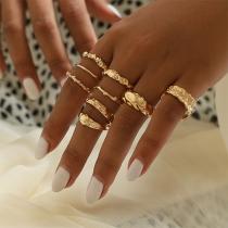 Fashion Gold-tone Alloy Ring Set 9 pcs/Set