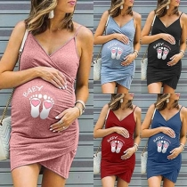 Cute Cartoon Printed V-neck Sling Maternity Dress