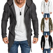 Fashion Solid Color Long Sleeve Hooded Man's Coat