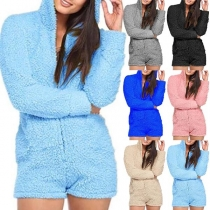 Fashion Solid Color Long Sleeve Hooded Plush Romper
