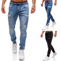 Fashion Elastic Waist Man's Zipper Jeans