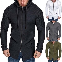 Fashion Solid Color Long Sleeve Hooded Man's Sweatshirt Coat  Jacket