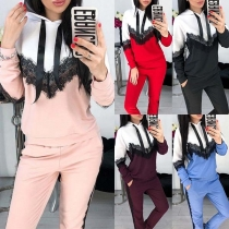 Fashion Contrast Color Lace Spliced Hoodie + Pants Sports Suit