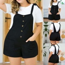 Fashion Solid Color High Waist Plus-size Overalls Shorts
