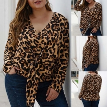 Fashion Long Sleeve V-neck Lace-up Leopard Printed Plus-size Top