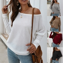 Fashion Solid Color Long Sleeve Boat Neck Knit Top