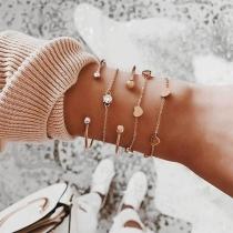 Fashion Rhinestone Inlaid Heart Bracelet Set 5 pcs/Set