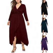 Sexy V-neck Long Sleeve High-low Hem Solid Color Plus-size Dress