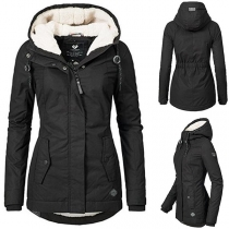 Fashion Solid Color Long Sleeve Hooded Plush Lining Waterproof Padded Coat (It falls small)