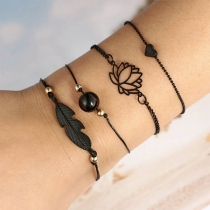 Fashion Style Lotus Leaf Bracelet Set 4pcs/Set