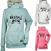 Casual Style Cowl Neck Letter Print Front Pocket Long Sleeve Hoodie